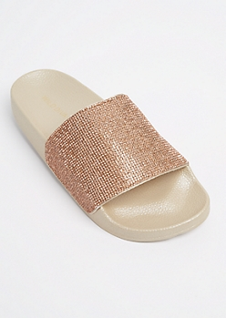 Golden Rhinestone Slide On By Wild Diva