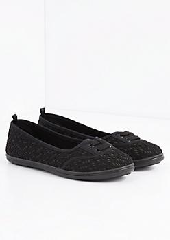 Black Crochet Lace-Up Flat