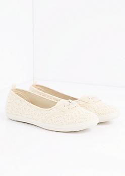 Cream Crochet Lace-Up Flat