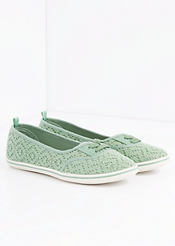 Green Crochet Lace-Up Flat