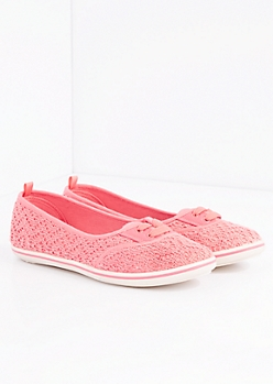 Coral Crochet Lace-Up Flat