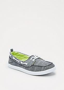 Black Tweed Boat Shoe