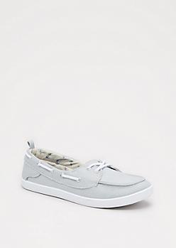 Gray Shimmer Boat Shoe