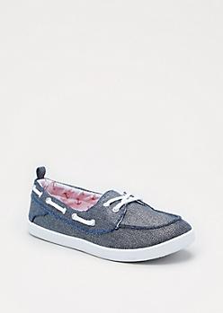Blue Shimmer Boat Shoe