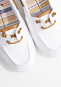 White Canvas Boat Shoe