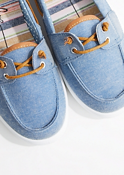 Denim Canvas Boat Shoe