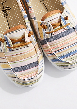 Multicolor Stripe Canvas Boat Shoe