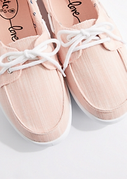 Pink Marled Canvas Boat Shoe