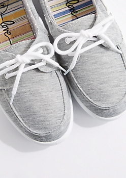 Gray Jersey Boat Shoe