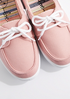 Pink Jersey Boat Shoe