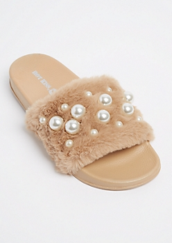 Nude Dotted Pearl Furry Slide On By Hot Kiss