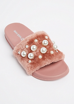 Pink Dotted Pearl Furry Slide On By Hot Kiss