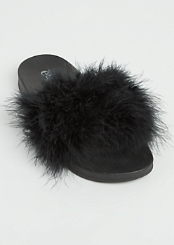 Black Feathered Slide On