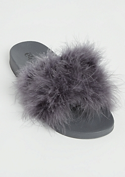 Charcoal Feathered Slide On