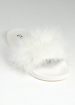 White Feathered Slide On