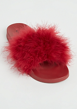 Burgundy Feathered Slide On