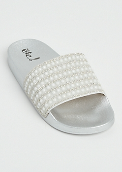 White Pearl Row Slide On