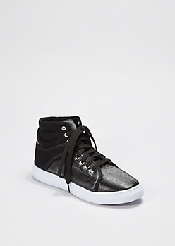 Black Faux Leather High Top Sneaker By Qupid®
