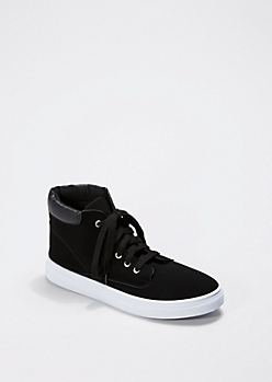 Black Microsuede High Top Sneaker By Qupid®