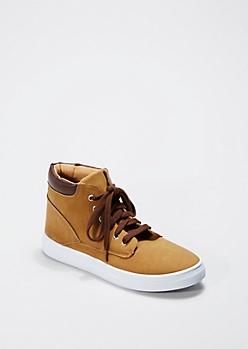 Tan Microsuede High Top Sneaker By Qupid®