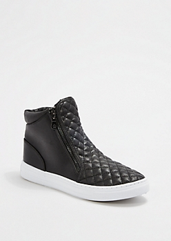 Black Quilted High Top Sneaker By Qupid®