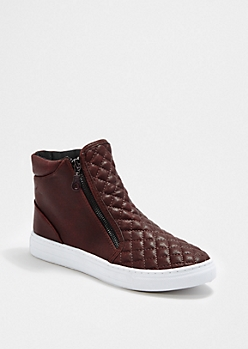 Burgundy Quilted High Top Sneaker By Qupid®