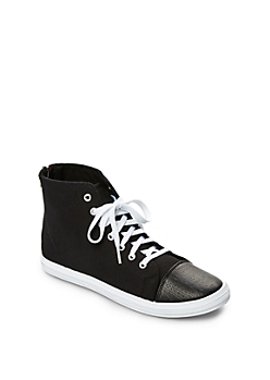 Black Zip Back High Top Sneaker By Qupid®