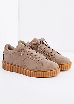 Taupe Platform Sneaker By Qupid®