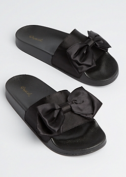 Black Satin Bow Slide On
