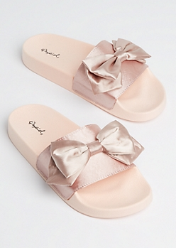 Pink Satin Bow Slide On