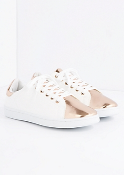 Rose Gold Metallic Toe Low Top Sneaker By Qupid