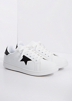 White & Black Star Sneaker By Qupid