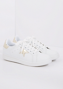 White & Gold Star Sneaker By Qupid