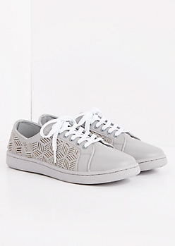 Gray Geo Cutout Low Top Sneakers