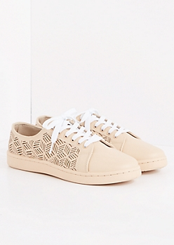 Nude Geo Cutout Low Top Sneakers