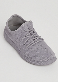 Gray Knit Low Top Trainer By Qupid