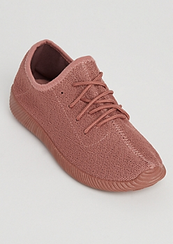 Pink Knit Low Top Trainer By Qupid