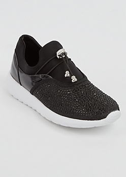Black Rhinestone Low Top Trainer By Qupid