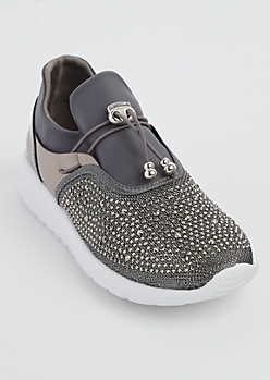 Pewter Rhinestone Low Top Trainer By Qupid