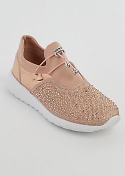 Rose Gold Rhinestone Low Top Trainer By Qupid