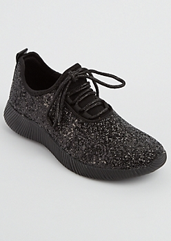 Black Glitter Low Top Trainer By Qupid