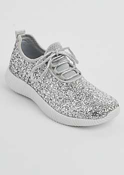 Silver Glitter Low Top Trainer By Qupid