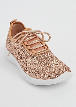 Rose Gold Glitter Low Top Trainer By Qupid