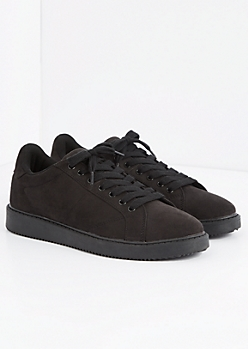Black Microsuede Retro Sneaker by Qupid®