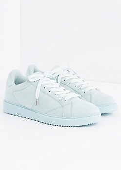 Light Blue Microsuede Retro Sneaker by Qupid®