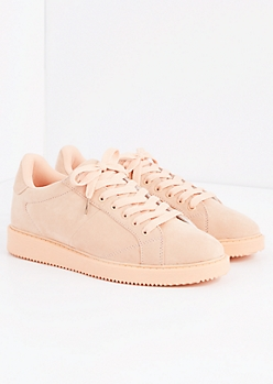 Light Pink Microsuede Retro Sneaker by Qupid®