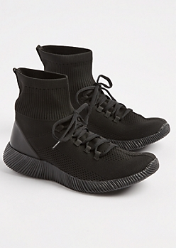 Black Knit High Top Trainers By Qupid