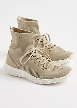 Taupe Knit High Top Trainers By Qupid