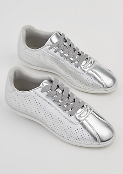 Silver Perforated Sneakers By Qupid