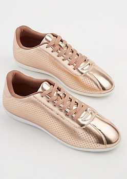 Rose Gold Perforated Sneakers By Qupid